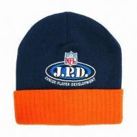 Knitted Beanie with Embroidered Logo, Made of Acrylic Material Manufactures