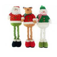Stuffed Reindeer Snowman Doll Christmas Plush Toys With Streaching Leg Manufactures