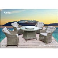 5 Piece Poolside Rattan Table And Chairs Set With Cushion / Rotary Tabletop