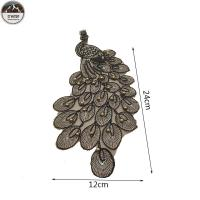 Handmade Pearls Custom Cloth Badges , Gold Rope Peacock Patches For Dresses Manufactures
