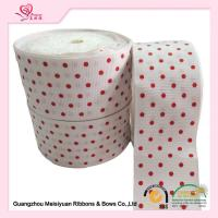 China 2 Inch White Custom Printed Grosgrain Ribbon With Red Polka Dots For DIY Handwork wholesale