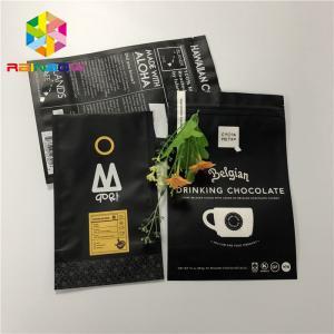 Matt Black 200g Aluminum Foil Stand Up Pouch Zip Lock Coffee Bag Gravure Printing Manufactures