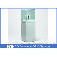 OEM Square White Glass Jewelry Display Cases / Lockable Jewellery Display Cabinet Manufactures