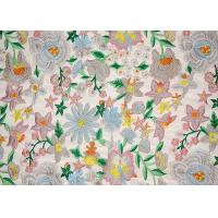 Polyester Multi Colored Dress Lace Fabric With Heavy Embroidery By OEKO TEX 100 Manufactures