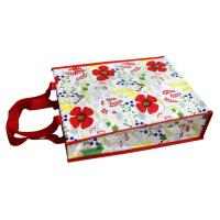 Waterproof 140g Red Flower Shining PP Shopping Bag With Nylon Handle, Customized Logo Manufactures