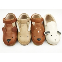 China Real Leather Animal Pattern Non-slip Cute Baby Flat Shoes on sale
