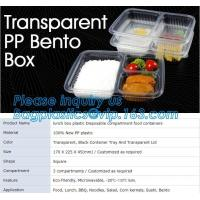 China transparent pp bento box,lunch box plastic disposable compartment food containers,food,lunch,BBQ,noodles,salad,corn kern on sale