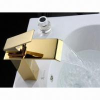 Golden Bathroom Mixer Tap Waterfall, Single Handle, Cold and Hot Water  Manufactures