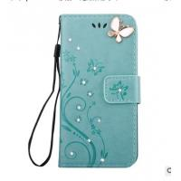 Quality IPHONE6S PU leather butterfly flowers diamond phone case for iPhone 8 for sale