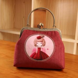 Lady Vintage Velvet Rose Flower Kiss Lock Wallet Clutch Card Holder Coin Bag Pouch Purse Manufactures