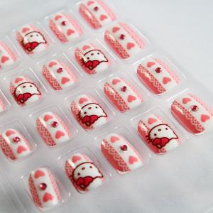 Pink Hello Kitty 3D Cartoon Fake Fingernails Art With Heart / Diamonds Manufactures