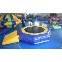 0.9mm PVC Tarpaulin Inflatable Floating Water Trampoline With Beam For Pool Manufactures