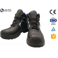China Construction Site Ppe Safety Boots , Slip On Steel Toe Boots Warehouse Black Leather on sale