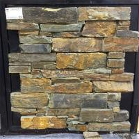 China Cement Backed Natural Stone Ledger Panels Rust Color High Temperature Resistance on sale