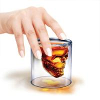 China Double Layer Glass Coffee Mugs , Skull Whiskey / Vodka / Cocktail Glass Cup on sale