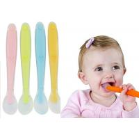 China Soft Debossed Silicone Baby Spoon For Weaning And Frist Stage Tot Feeding on sale