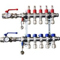 Stainless Steel Bamboo Joint Manifold with long flow meter for underfloor heating flow meter manifold Manufactures