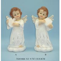 Gold Wings Polyresin Figurine , Small Beautiful Baby White Angel Statues Figurines Manufactures