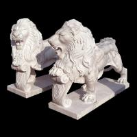 Quality White Garden Cast Iron Decor Carved Stone Pair Animals Lion Polished Finishing for sale