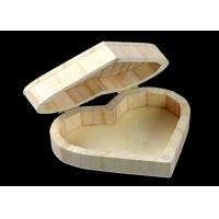 Cover Top Heart Shaped Wooden Box , Wooden Crate Gift Box For Rings Wedding Gift Manufactures