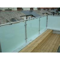 Hot sale frosted glass panel glass balustrade with inox baluster post design Manufactures
