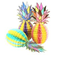 China Multicolor Pineapple Summer Themes Decoration Honeycomb Poms on sale