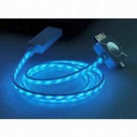 China Flash Shine Data Lighting Charger USB Sync Cable for iPhone 5, with LED Flashlight on sale