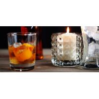 Quality Round Decoration Glass Candlestick Holders / Clear Glass Candle Holders for sale