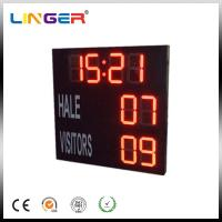 Quality Red Electronic Large Digital Soccer Scoreboard With Waterproof Iron Cabinet for sale