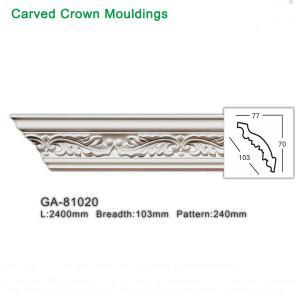 China 2400mm White Polyurethane foam cornice PU ceiling corner moulding on sale