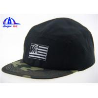 Black and Camo Embroidery Logo 5 Panel Camp Cap Flat Short Brim Camp Army Hats Manufactures