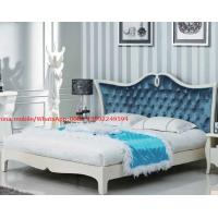 Neoclassical design Luxury Furniture Fabric Upholstery headboard King Bed with Crystal Pull buckle Decoration Manufactures