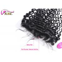 China Pre - Plunked Lace Frontal 13x4.5 Closure With Baby Hair Brazilian Deep Wave Human Hair wholesale