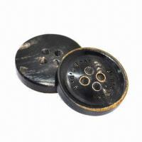 China Horn Button, Made of Real Horn, Can be Carved Using Laser Logo, Available in Various Designs/Sizes on sale