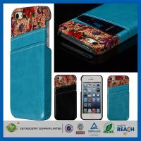 Quality Flower Leather Pocket Back Hard Iphone 5 5S Apple Cell Phone Cases With Card Holder for sale