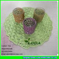 LDTM-040 green paper straw placemat round floral decorative table placemat Manufactures