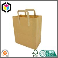 Plain Brown Recycled Kraft Flat Handle Grocery Bag Manufactures
