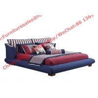Quality Blue and white strip Upholstered furniture bedding ship type headboard with for sale