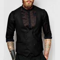 China Classic Double Breasted Mens Flight Jacket Business Casual Waistcoat Formal Style on sale