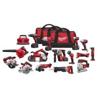 Milwaukee M18 18-Volt Lithium-Ion Cordless Combo Tool Kit (15-Tool) with (4) 4.0Ah Batteries, (1) 6-Port Charger, (3) To Manufactures