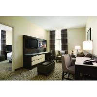 Hotel Executive Suite Bedroom Furniture Double Bed with TV storage Cabinets by Dark oak wood and Reception Living Sofa