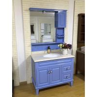 Quality Lake Blue Solid Wood Bathroom Vanity Hardware Soft Close Drawers 1000*520*850mm for sale
