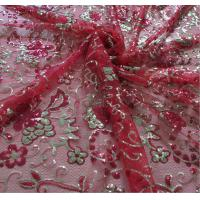 China Mesh Based High Quality  3mm Sequin Embroidery Fabric with Red+Gold color on sale