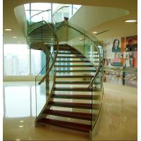 Stainless steel curved glass staircase indoor glass stairs Manufactures