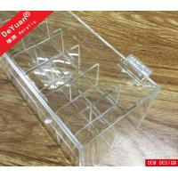 Crystal Knob Clear Acrylic Lipstick Holder Box With Hinged Lid Manufactures