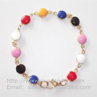 Gold Tone Stainless Steel Link Chain Bracelet with Colored Epoxy Dome Charm Manufactures