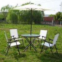 Aluminum garden patio furniture set, fold-up table and chair with umbrella Manufactures