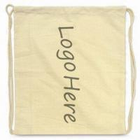 Drawstring Bag with Printed Logo, Made of 100% Cotton Manufactures
