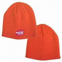 Knitted Beanie with Logo by Woven Label, Made of Acrylic Material Manufactures