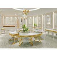 Gold Stainless Steel Retail Glass Display Cases Luxury Wood Combined With Mirror Manufactures